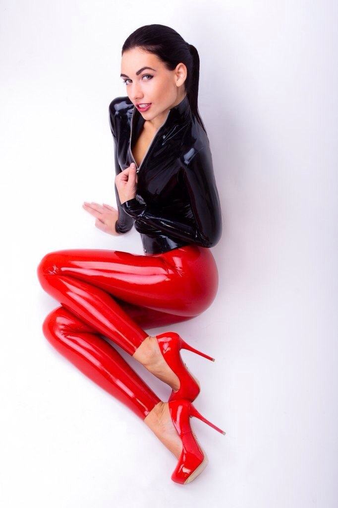 Red sexy latex full body intimate tights clothing for womenbody intimlatex full bodyfull body latex